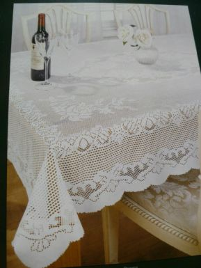 "FLORAL ROSES CREAM LACE STAIN RELEASE TABLE CLOTH 60"" x 90"" OBLONG £13.99 EACH"